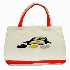 Linux Tux Pengion And Eggs Classic Tote Bag (red)