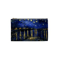 Vincent Van Gogh Starry Night Over The Rhone Cosmetic Bag (small) by MasterpiecesOfArt