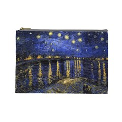 Vincent Van Gogh Starry Night Over The Rhone Cosmetic Bag (large) by MasterpiecesOfArt