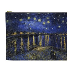 Vincent Van Gogh Starry Night Over The Rhone Cosmetic Bag (xl) by MasterpiecesOfArt