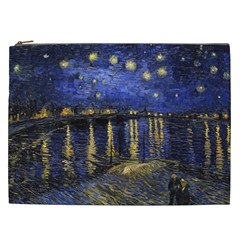 Vincent Van Gogh Starry Night Over The Rhone Cosmetic Bag (xxl) by MasterpiecesOfArt