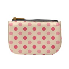 Pale Pink Polka Dots Coin Change Purse by Colorfulart23