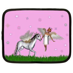 Unicorn And Fairy In A Grass Field And Sparkles Netbook Sleeve (xl) by goldenjackal