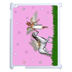 Unicorn And Fairy In A Grass Field And Sparkles Apple Ipad 2 Case (white) by goldenjackal