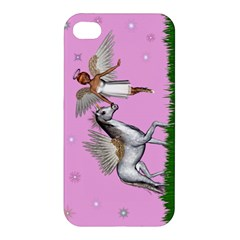 Unicorn And Fairy In A Grass Field And Sparkles Apple Iphone 4/4s Premium Hardshell Case by goldenjackal