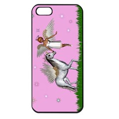 Unicorn And Fairy In A Grass Field And Sparkles Apple Iphone 5 Seamless Case (black) by goldenjackal