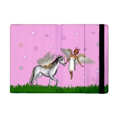 Unicorn And Fairy In A Grass Field And Sparkles Apple Ipad Mini Flip Case by goldenjackal