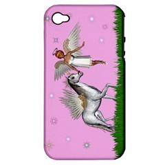 Unicorn And Fairy In A Grass Field And Sparkles Apple Iphone 4/4s Hardshell Case (pc+silicone) by goldenjackal