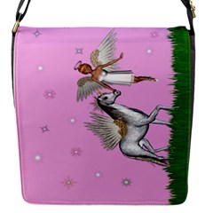 Unicorn And Fairy In A Grass Field And Sparkles Removable Flap Cover (small) by goldenjackal
