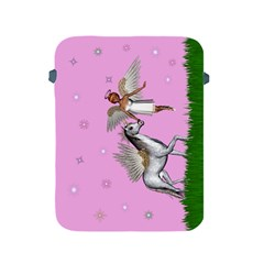 Unicorn And Fairy In A Grass Field And Sparkles Apple Ipad Protective Sleeve by goldenjackal