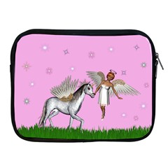 Unicorn And Fairy In A Grass Field And Sparkles Apple Ipad Zippered Sleeve by goldenjackal