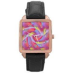 Colored Swirls Rose Gold Leather Watch
