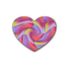 Colored Swirls Drink Coasters 4 Pack (heart)  by Colorfulart23