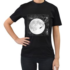 Vinyl Moon Women s T Shirt (black)