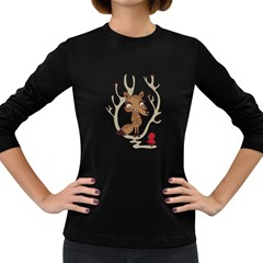 Hello Wolf Women s Long Sleeve T Shirt (dark Colored)