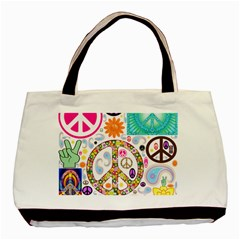 Peace Collage Twin Sided Black Tote Bag