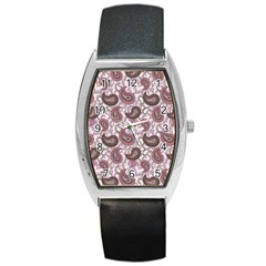 Paisley In Pink Tonneau Leather Watch