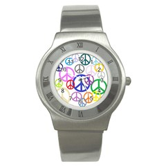 Peace Sign Collage Png Stainless Steel Watch (slim)