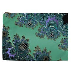 Celtic Symbolic Fractal Design in Green Cosmetic Bag (XXL) by UROCKtheWorldDesign
