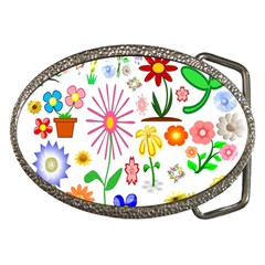 Summer Florals Belt Buckle (oval) by StuffOrSomething