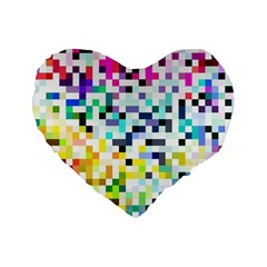 Pixelated 16  Premium Heart Shape Cushion  by Contest1878042