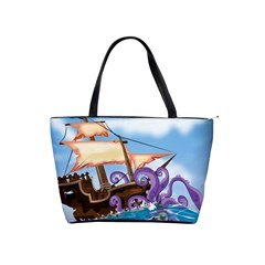 PiratePirate Ship Attacked By Giant Squid  Large Shoulder Bag by NickGreenaway