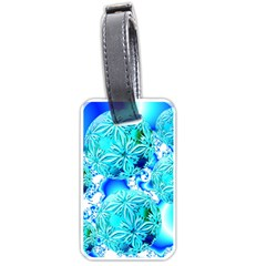 Blue Ice Crystals, Abstract Aqua Azure Cyan Luggage Tag (one Side) by DianeClancy