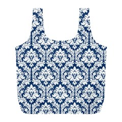 Navy Blue Damask Pattern Full Print Recycle Bag (l) by Zandiepants