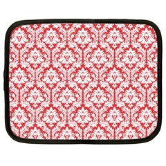 White On Red Damask Netbook Sleeve (xl) by Zandiepants