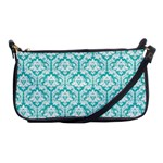 Turquoise Damask Pattern Shoulder Clutch Bag Front