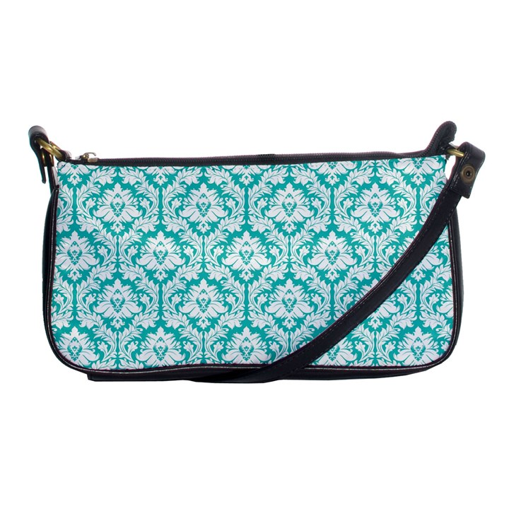 Turquoise Damask Pattern Shoulder Clutch Bag