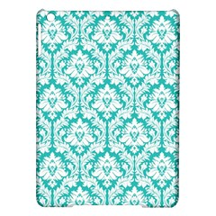 White On Turquoise Damask Apple Ipad Air Hardshell Case by Zandiepants