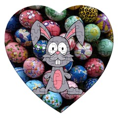 Easter Egg Bunny Treasure Jigsaw Puzzle (heart) by StuffOrSomething