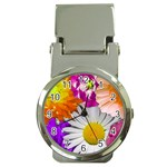 Lovely Flowers,purple Money Clip with Watch Front