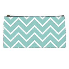 Blue And White Chevron Pencil Case by zenandchic
