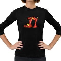 Bigfoot Walker Women s Long Sleeve T Shirt (dark Colored)