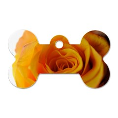 Yellow Rose Close Up Dog Tag Bone (one Sided)