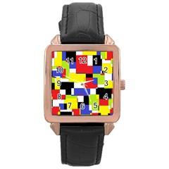 Mod Geometric Rose Gold Leather Watch