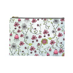 Pink whimsical flowers on blue Cosmetic Bag (Large) by Zandiepants