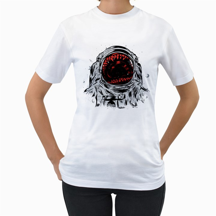Trouble In the Space Women s T-Shirt (White)