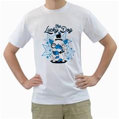 The Lucky Dog Men s T Shirt (white)