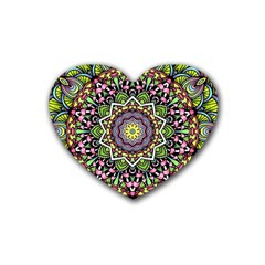 Psychedelic Leaves Mandala Drink Coasters (Heart) by Zandiepants