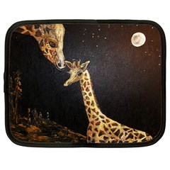 Baby Giraffe And Mom Under The Moon Netbook Sleeve (xl) by rokinronda