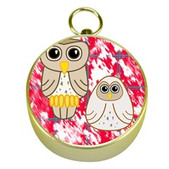Two Owls Gold Compass by uniquedesignsbycassie