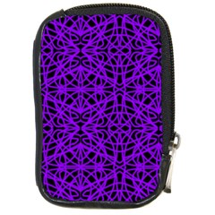 Black And Purple String Art Compact Camera Leather Case by Khoncepts