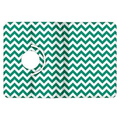Emerald Green And White Zigzag Kindle Fire Hdx 7  Flip 360 Case by Zandiepants