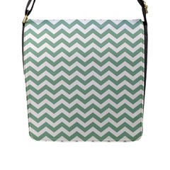 Jade Green And White Zigzag Flap Closure Messenger Bag (large) by Zandiepants