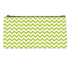 Spring Green And White Zigzag Pattern Pencil Case by Zandiepants