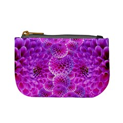 Purple Dahlias Coin Change Purse by FunWithFibro
