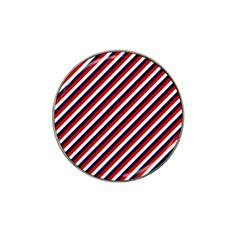 Diagonal Patriot Stripes Golf Ball Marker (for Hat Clip) by StuffOrSomething
